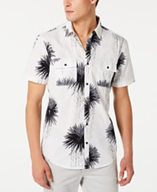 I.N.C. Men's Regular-Fit Dripping Palm-Print Shirt, Created for Macy's