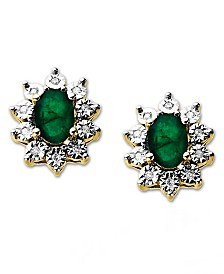 10k Gold Earrings, Emerald (9/10 ct. t.w.) and Diamond Accent Earrings