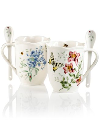 Dinnerware, Set of 2 Butterfly Meadow Cocoa Mugs with Spoons