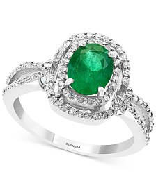 EFFY® Emerald (1-1/8 ct. t.w.) & Diamond (1/3 ct. t.w.) Ring in 14k White Gold