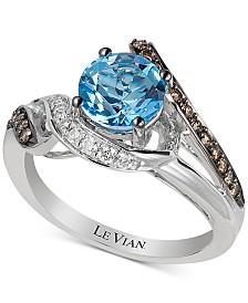 Le Vian® Ocean Blue Topaz (1-1/5 ct. t.w.) & Diamond (1/4 ct. t.w.) Ring in 14k White Gold