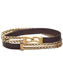 Men's Double-Chain & Leather Wrap Bracelet in Gold-Tone Stainless Steel