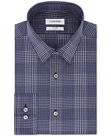 Calvin Klein Men's Steel Slim-Fit Stretch Performance Non-Iron Temperature-Regulating Blue Check Dress Shirt