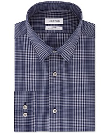 Calvin Klein Men's Steel Slim-Fit Stretch Performance Non-Iron Temperature-Regulating Blue Check Dress Shirt