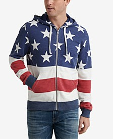 Men's Red, White & Blue Zip-Front Hoodie