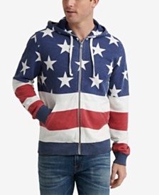 Lucky Brand Men's Red, White & Blue Zip-Front Hoodie