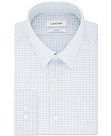 Calvin Klein Men's Steel Slim-Fit Stretch Performance Non-Iron Blue Check Dress Shirt