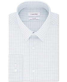 Calvin Klein Men's Steel Slim-Fit Stretch Performance Non-Iron Blue Check Dress Shirt