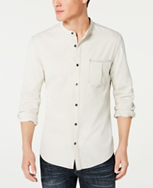 I.N.C. Men's Regular-Fit Band-Collar Denim Shirt, Created for Macy's