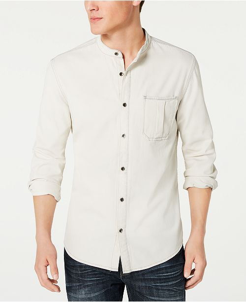 INC International Concepts INC Men's Regular-Fit Band-Collar Denim Shirt, Created for Macy's