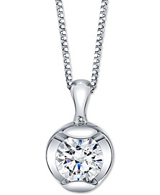 "Diamond Solitaire 18"" Pendant Necklace (1/4 ct. t.w.) in 14k White Gold"