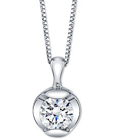 "Sirena Diamond Solitaire 18"" Pendant Necklace (1/4 ct. t.w.) in 14k White Gold"