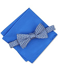 Men's Pre-Tied Geometric Bow Tie & Solid Pocket Square Set, Created for Macy's