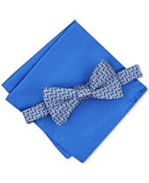 55ac115cecb8 Alfani Men's Pre-Tied Geometric Bow Tie & Solid Pocket Square Set, Created  for