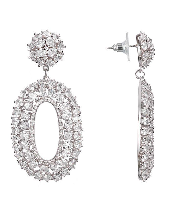Nina - Oval Cluster Drop Earrings