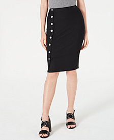 Material Girl Juniors' Rib-Knit Button-Front Midi Skirt, Created for Macy's
