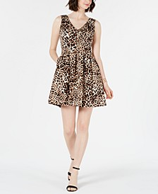 Petite Animal-Print Fit & Flare Dress