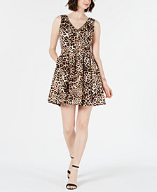 Vince Camuto Animal Fit & Flare Dress