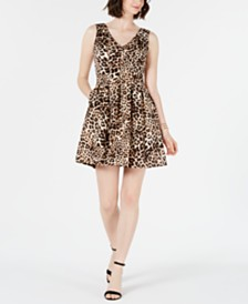 Vince Camuto Petite Animal-Print Fit & Flare Dress