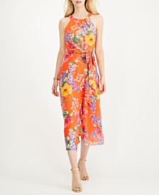 Jessica Howard Petite Floral Chiffon Halter Midi Dress