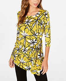 Alfani Floral-Print Side-Tie Top, Created for Macy's