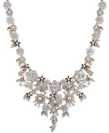 """Marchesa Gold-Tone Crystal & Imitation Mother-of-Pearl Flower Statement Necklace, 16"""" + 1"""" extender"""