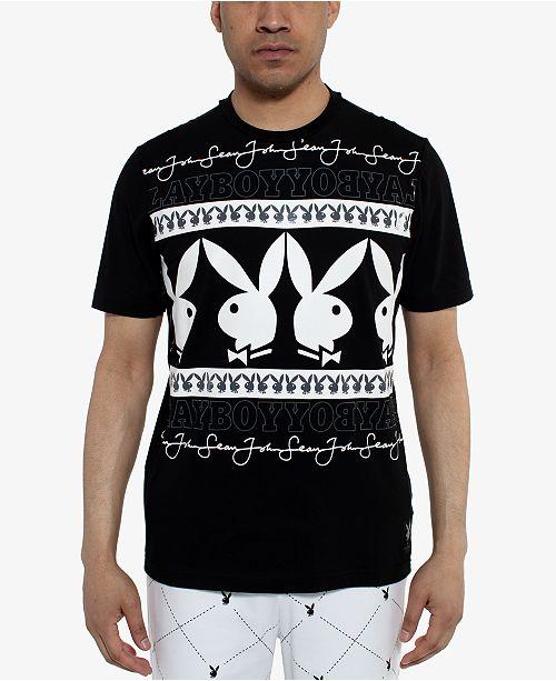 Sean John Men's Playboy Collection Wrapped Logo T-Shirt