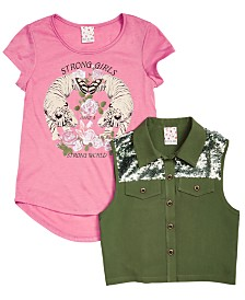 Belle Du Jour Big Girls 2-Pc. Trucker  Vest & Tiger-Print T-Shirt Set