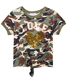 Beautees Big Girls Camo-Print Flip Sequin Top