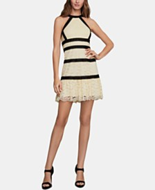BCBGMAXAZRIA Lace Halter Fit & Flare Dress