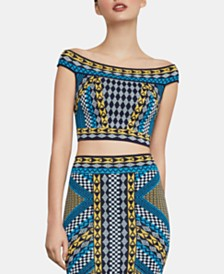 BCBGMAXAZRIA Cropped Off-The-Shoulder Sweater