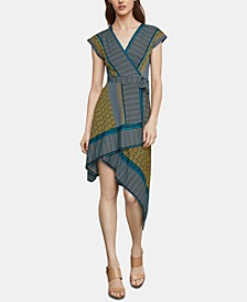 Mixed-Print Faux-Wrap Dress