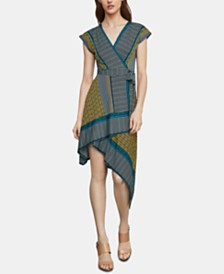 BCBGMAXAZRIA Mixed-Print Faux-Wrap Dress