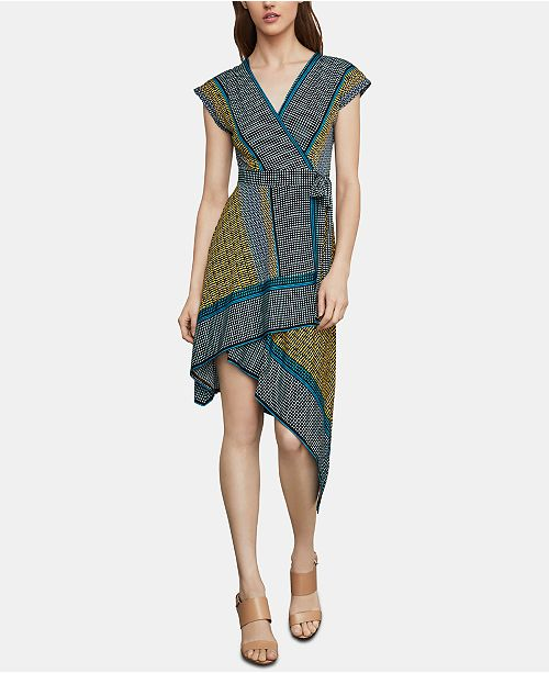 BCBGMAXAZRIA Mixed-Print Faux-Wrap Dress