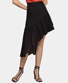 BCBGMAXAZRIA Cotton Eyelet Asymmetrical Skirt