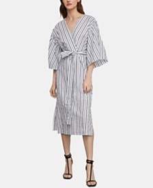 BCBGMAXAZRIA Cotton Striped Faux-Wrap Dress