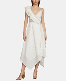 BCBGMAXAZRIA Metallic-Trim Wrap Dress