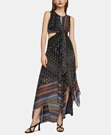 BCBGMAXAZRIA Mixed-Print Asymmetrical Midi Dress