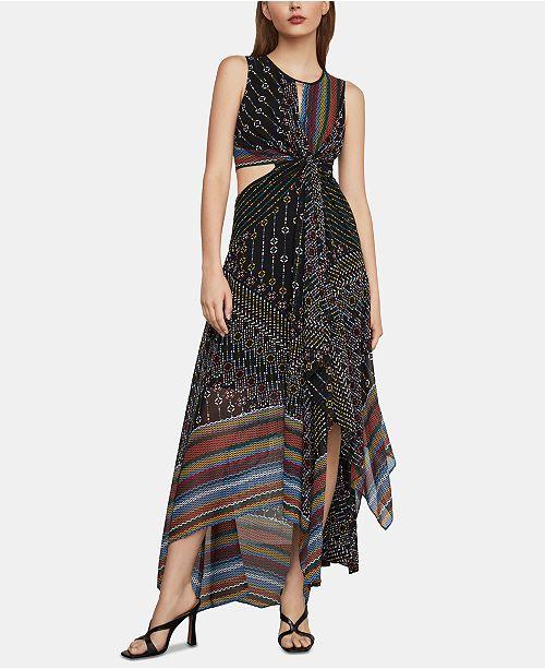 BCBGMAXAZRIA Mixed-Print Asymmetrical Midi Dress