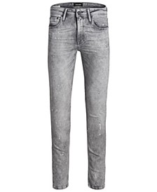 Jack and Jones Men's Skinny Fit Grey Liam Jeans With Paint Splatter