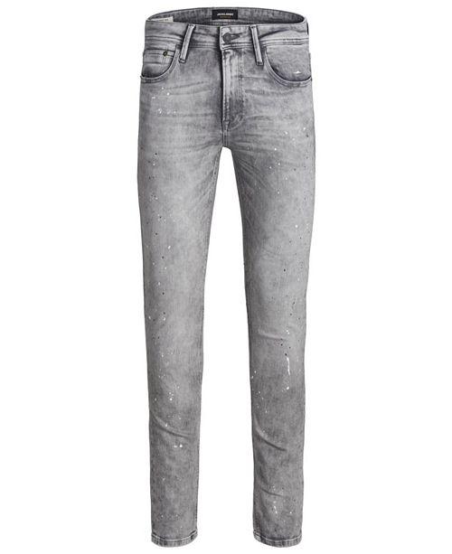 Jack & Jones Jack and Jones Men's Skinny Fit Grey Liam Jeans With Paint Splatter