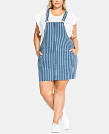 City Chic Trendy Plus Size Striped Denim Dress