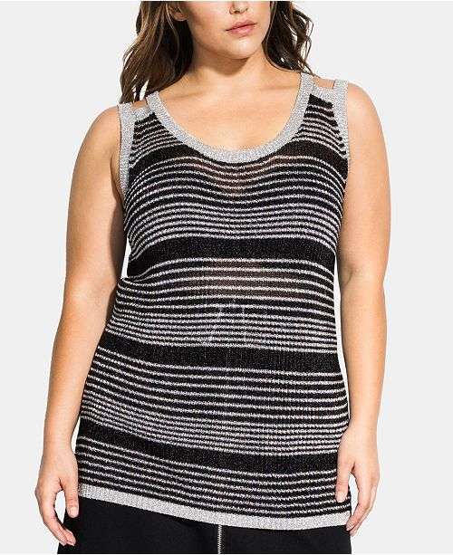 City Chic Trendy Plus Size Metallic Stripe Top