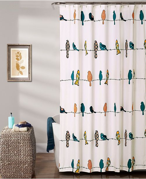 "Lush Decor Rowley Birds 72"" x 72"" Shower Curtain"