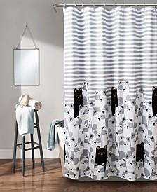 """Stripe Bear 72"""" x 72"""" Shower Curtain"""