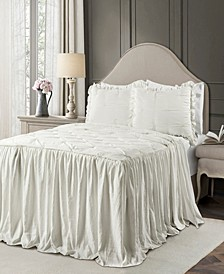 Ravello Pintuck Ruffle Skirt 3Pc Queen Bedspread Set