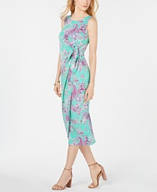 Robbie Bee Petite Paisley Printed Sarong Midi Dress