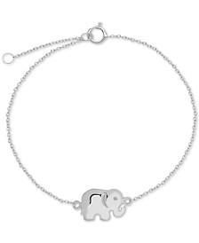 Polished Elephant Charm Ankle Bracelet in Sterling Silver