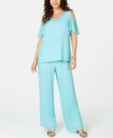 JM Collection Embellished Cold-Shoulder Top & Pull-On Pants, Created for Macy's