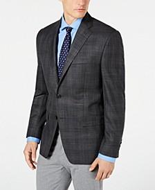 Men's Classic-Fit UltraFlex Stretch Gray Plaid Sport Coat